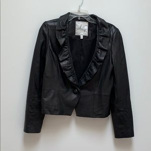 Milky leather jacket with ruffle trim